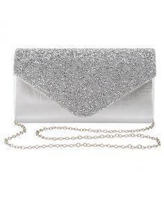 97c4b437a47 Womens Evening Bag Handbag Clutch Purse Rhinestone-Studded Flap for Wedding  Party Prom - Silver - CH18979CX3D