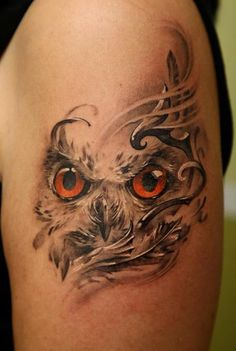 Owl Tattoo - Love the black & grey with only colored eyes