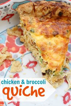 Kids Meals Chicken and Broccoli Quiche: A family-friendly meal that my kids absolutely LOVE! - This chicken and broccoli quiche is one of our family's favorite recipes! Since it is made with milk, it is lower in calories/fat than many other recipes. Broccoli Quiche, Chicken Broccoli, Chicken Quiche, Broccoli Salad, Okra, Quiches, Breakfast Recipes, Dinner Recipes, Dinner Ideas