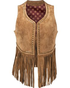 Made of soft leather, this vest has fringe perfect for flirtatious flicking. Studded hardware details frame the edges and stands out among the sloth. The tribal pattern embroidered on the back is sure to leave a lasting impression on any guy watching you walk away.