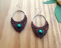Malachite macrame earrings macrame jewelry hoop by SelinofosArt Macrame Earrings Tutorial, Macrame Tutorial, Earring Tutorial, Crochet Earrings, Macrame Knots, Macrame Jewelry, Macrame Bracelets, Gemstone Earrings, Ring Earrings