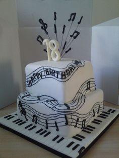 Music birthday cake I like the piano keys on cake. Music Birthday Cakes, Music Themed Cakes, Music Cakes, 18th Birthday Cake, Happy Birthday, Pretty Cakes, Beautiful Cakes, Amazing Cakes, Bolo Musical