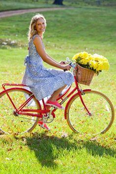 that bird label Maggie Wrap Dress Pretty Pansy Large Print - Womens Knee Length Dresses - Birdsnest Fashion Clothing Cycling Wear, Cycling Girls, Beautiful Summer Dresses, Blue And White Dress, Bicycle Girl, Cute Girl Photo, Women's Knee Length Dresses, Bike Style, Lady Biker