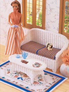 "Wicker Sofa Set  ~~  Set includes a sofa, table and rug FOR A (13"" size) ""BARBIE"" doll.   Technique - Plastic Canvas  Skill Level: Intermediate"