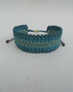 Emerald greenpetrol blue and gold macrame by LuckyRatJewellery