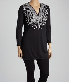 Black & White Abstract Embroidered Notch Neck Tunic - Plus