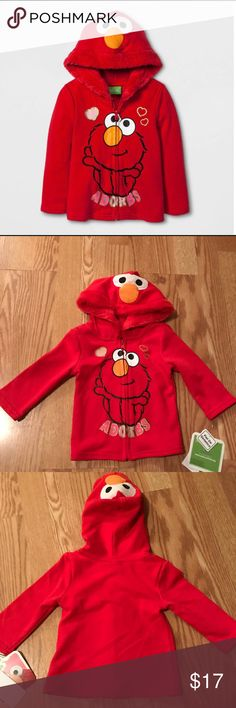 Red Elmo jacket Red Elmo jacket. It has a full front zipper. Elmo's face  is on the hoodie. And also on the front. Brand new . Size 12 Months . Sesame Street Other