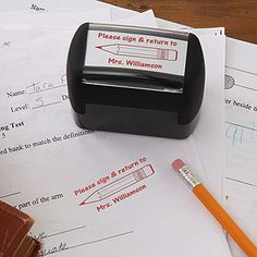 "Great idea for teachers - a self-inking stamper that says ""Please sign and return to _____"" which you can personalize with your name. This would save a lot of time when you're grading papers and it's only $16.95! #Teacher #school #classroom #PMall.com"