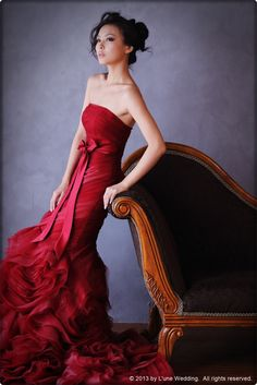 """Queen - """"Crazy Little Thing Called Love""""  EGRD01 - A deep red mermaid evening gown with a trendy organza & tulle rose-like design. Finished with a detachable ribbon bow. #wedding #evening #dresses #gowns #bridal #love #deepred #mermaid #lune #lunewedding"""