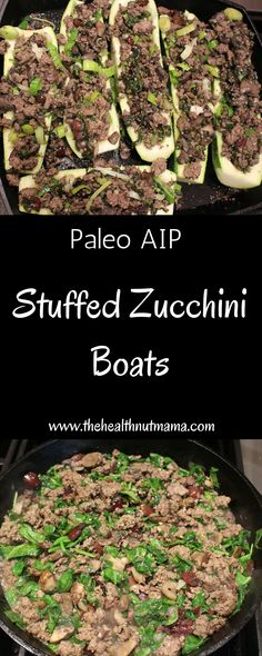 What to do with all that summer Zucchini that's coming in? How about Stuffed Zucchini Boats. Not only are they easy & delish but healthy too! (AIP, Paleo) www.thehealthnutmama.com