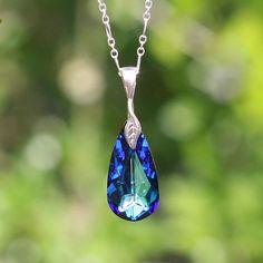 Genuine Swarovski Teardrop Crystal - Swarovski Crystal Blue Pendant Bridal Necklace in Sterling Silver - Peacock Swarovski Necklace  - DK253, $37.00