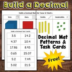 Build a Decimal is a free set of materials to use when introducing decimal concepts with with base 10 blocks. I described this activity on Corkboard Connections; if you missed it, you'll find a link to the article on the last page of the freebie. This packet includes a page of decimal task cards and patterns to create the Build a Decimal Mat for Base 10 Blocks. ~ Laura Candler*************************************************************************Decimal Place Value Games  Place Value…