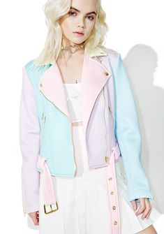 Sugarpills Neoprene Moto Jacket is ready to hit the highway in style, bb. Patrol in this supa kawaii moto jacket constructed from gorgeous neoprene that's soft n spongy to the touch in pretty pastel paneled hues. Featurin' color blocking in a classic motorcycle jacket construction with snap button lapels, multiple exposed zip closures, removable belt, cropped cut, and a front zip closure.