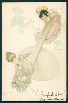 Kirchner Raphael Art Nouveau Lady postcard KS7693
