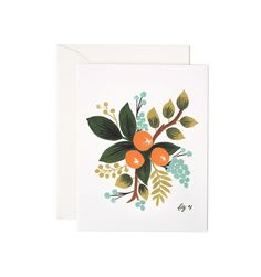 Clementine Floral Available as a Single Folded Card or an Assorted Set of 8