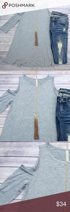 Cold Should Tunic - Gray Loose fitting tunic with cold shoulders. This is the perfect base layer for fall! Goes great with leggings, leggings, you name it! Also comes in black, olive, burgundy, mauve, and navy. Please see individual listings to purchase other colors. No trades. Kyoot Klothing Tops Tunics