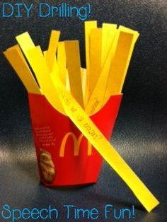 """Get a french fry container, cut out yellow paper strips, write questions, words, etc. on the strips, and add them to the container to be your """"fries!"""" Child pulls fries out one at a time!"""