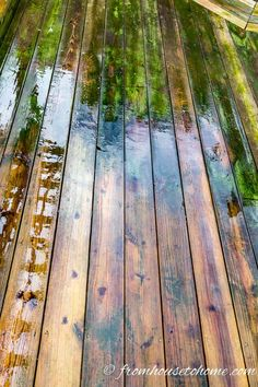 Looking for an easy and inexpensive way to wash your deck? This DIY deck cleaner is the best homemade deck wash recipe I have found. It will make your deck look brand new again and it's non toxic. Deck Design, Landscape Design, Deck Brush, Deck Cleaner, Bleach Uses, Wood Chipper, Deck Makeover, Slippery When Wet, Free Plants