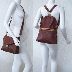 Double use camel messenger/ backpack with terracota details