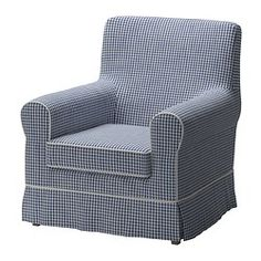 EKTORP JENNYLUND Chair - Norraby blue/check - IKEA $250 EACH SLIPCOVERED NO COUCHES - THESE CHAIRS FOR MOVIES AND MOVING AROUND