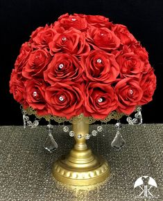 RED Rose Arrangement with PREMIUM Real Touch Silk Roses and RHINESTONE GEMS. Red Wedding Centerpiece. Red Centerpiece. Floating Pomander. PICK ROSE COLOR! 16 SIZE PICTURED With RHINESTONE GEMS IN Roses. GOLD STANDS With CRYSTALS Sold Separately.  These beautiful roses have a real feel and look to Flower Ball Centerpiece, Red Wedding Centerpieces, Crown Centerpiece, Mickey Centerpiece, Orange Wedding, Burgundy Wedding, Lime Wedding, Ivory Wedding, Luxury Wedding