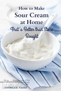 Make Probiotic Sour Cream at Home You can make sour cream at home that's better than store bought and all you need is two or three ingredients.You can make sour cream at home that's better than store bought and all you need is two or three ingredients. Make Sour Cream, Homemade Sour Cream, Homemade Cheese, Homemade Butter, What Is Sour Cream, Homemade Cottage Cheese, Healthy Sour Cream, Sour Cream Substitute, Homemade Yogurt