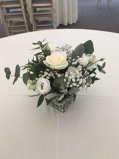 Glass cube table centrepiece arrangement Wedding Venue Decorations, Wedding Table Centerpieces, Wedding Venues, Table Decorations, Centrepiece Ideas, Cube Table, Glass Cube, Wedding Flowers, Decor Ideas