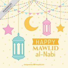happy mawlid background with decorative lanterns Free Vector Lanterns Decor, Decorative Lanterns, Muslim Celebrations, Eid Mubarak Greetings, Ramadan Decorations, Beautiful Book Covers, Happy Eid, Spiritual Path, Vector Free