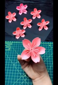 DIY plum blossom origami - DIY plum blossom origami The Effective Pictures We Offer You About bead crafts A quality picture c - Paper Flowers Craft, Easy Paper Crafts, Paper Crafts Origami, Origami Flowers, Flower Crafts, Diy Flowers, Diy Crafts, Scrapbook Paper Flowers, Cardboard Crafts