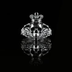 skull and black diamond claddagh ring. bespoke design by brazen studios.