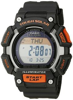 Casio Mens STLS110H1ACF Tough Solar Runner Digital Black and Orange Watch >>> Read more  at the image link.Note:It is affiliate link to Amazon.