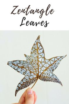 How to Zentangle leaves using metallic Sharpie markers on colorful fall leaves. This beautiful Autumn art activity is perfect for kids and adults alike.