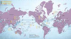 Fiber-optic submarine cable map