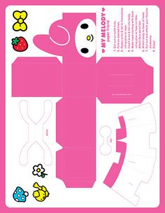 Paper Toys, Paper Crafts, Hello Kitty Crafts, Hello Kitty My Melody, Hello Kitty Boy, Paper Doll Template, Photowall Ideas, Anime Crafts, Cute Cartoon Wallpapers