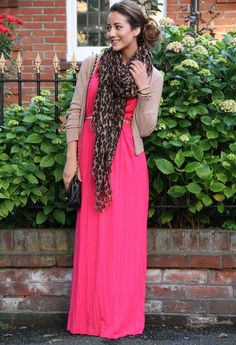 bringing a hot pink maxi into fall with a scarf and cardigan