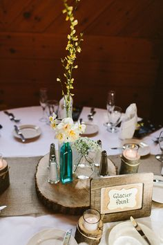 #diy #rustic #wedding centerpieces  courtesy of Zac Wolf Photography