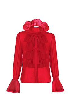 Camisa roja de crepé TERIA YABAR Otoño Invierno 2019 2020 Red Leather, Leather Jacket, Horror, Memes, Jackets, Red Shirt, Caricatures, Drawings, Dress Pants