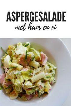 Een variant op de klassieke aspergegerechten: een salade! Deze salade is lekker rijk gevuld met verse aspperges, ham en ei. Check de blogpost voor het recept! Other Recipes, Ham, Potato Salad, Cabbage, Low Carb, Potatoes, Vegetables, Cooking, Ethnic Recipes