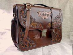 Купить Женский кожаный портфель с резьбой в стиле шеридан - коричневый, орнамент, женская сумка из кожи