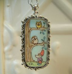 Gnome and Owls Original Art Pendant  Don't forget by workofwhimsy, $25.00