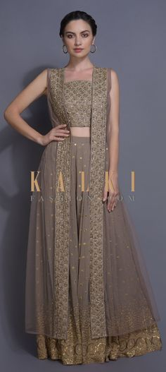 Rhino grey lehenga in georgette with zari and sequins buttis all over. Hemline enhanced with embroidered ethnic motif. Indian Designer Outfits, Indian Outfits, Designer Dresses, Ethnic Fashion, Modern Fashion, Indian Fashion, Lehenga Crop Top, Indian Gowns Dresses, Anita Dongre