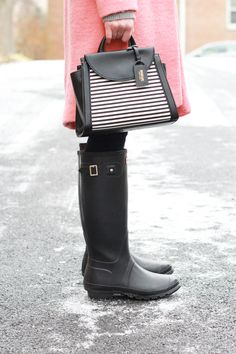 Poor Little It Girl - Colorful Stripes, Rain Boots, and a Cozy Pink Coat
