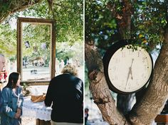super cool.  Instead of cliche slideshows or baby pictures next to cake, hang couples' pics in frame from tree