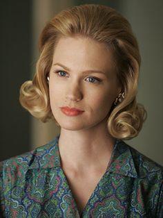 January Jones as Betty Draper. Blog post on styling a 60s hair flip