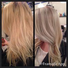 Before and after. Wella Illumina .#olaplex Blonde Color, Blonde Shades, Pale Blonde, Hair Inspo, Hair Inspiration, Pretty Blonde Hair, Shortish Hair, Brassy Hair, Platinum Hair