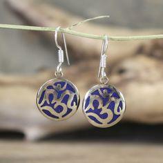 Dharmashop.com - lapis Inlaid Om Earrings , $29.00 (http://www.dharmashop.com/lapis-inlaid-om-earrings/)