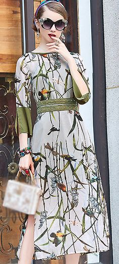 Elegant O-Neck 3/4 Sleeve Floral Print A-Line Dress