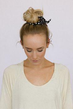 Fabric+Bun+Wraps+Navy+Blue+Polka+Dot+Wired+Hair+by+ThreeBirdNest,+$8.99