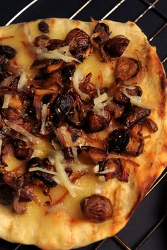 Pizza with Shallots, Wild Mushrooms and Fontina - Michael Chiarello Wild Mushrooms, Stuffed Mushrooms, Good Food, Yummy Food, Pizza Dough, Pizza Recipes, Fine Dining, Vegetable Pizza, Italian Recipes