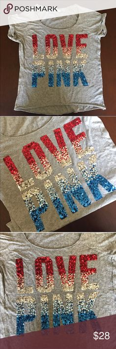 💗❤️NWOT VS Pink Sequin T-shirt🎀💕 💗❤️NWOT VS Pink Sequin T-shirt🎀💕 NWOT. ✔️ gray with gorgeous red, silver, and blue sequins ✔️Size Medium ✔️48% cotton/ 42% Polyester ✔️turn inside out ✔️machine wash cold. PINK Victoria's Secret Tops Tees - Short Sleeve